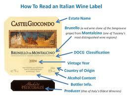 Wine read label